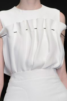 White top with soft gathers; close up fashion details // J. JS Lee Fall 2015