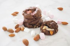 Rocky Road Cookies Cookie Recipes, Dessert Recipes, Desserts, Rocky Road Cookies, Chocolate Brownie Cookies, Perfect Cookie, Mini Marshmallows, Sliced Almonds, Dark Chocolate Chips