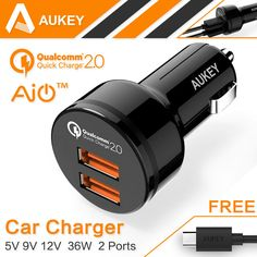 AUKEY Quick Charge 2.0 36W 2 Ports USB Car Charger for Samsung Galaxy S7 iPhone 7 iPad Tablet Xiaomi mi4 mi5 LG&More With Cables #clothing,#shoes,#jewelry,#women,#men,#hats,#watches,#belts,#fashion,#style