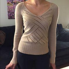 Beige, Armanie Exchange sweater, XSmall Beautiful A X sweater in beige color, XS Armani Exchange Sweaters V-Necks