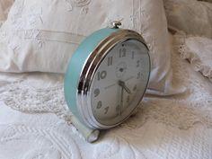 Antique French alarm clock BIG vintage Bayard clock retro turquoise alarm clock 1930s working mechanical movement vintage French retro decor by MyFrenchAntiqueShop on Etsy