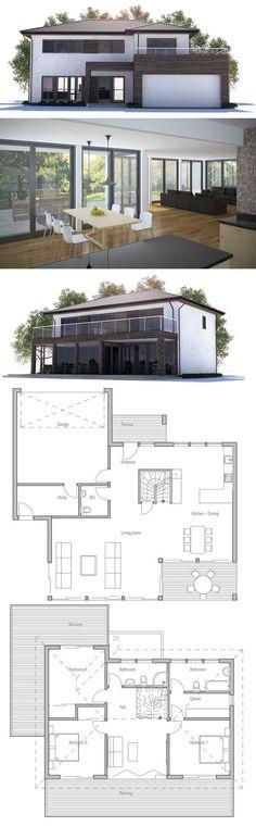 Modern Home Plan, Three bedrooms floor plan