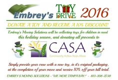 [Tampa Bay, FL] - [November 22, 2016] – Embrey's Moving Solutions, as one of the most respected Tampa Bay Moving & Storage Companies have launched their Toy Drive this 2016 in participation to the CASA's Hope for the Holiday's Wish List. The company will be collecting toys for the children in need this holiday seasons. The toys that they will collect will be donated to CASA of St. Petersburg.