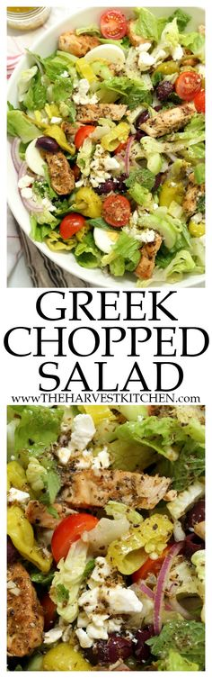 This Greek Chopped Salad is quick and easy to make, and it's filling enough to be a meal on its own. Perfect for lazy summer meal planning! @theharvestkitchen.com | paleo salads | | whole30 | | healthy salads | | chopped salads | | chopped Greek salad | | Greek salad dressing | | clean eating |