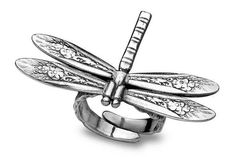 Silver Spoon Adjustable Ring - Dragonfly - Roses And Teacups