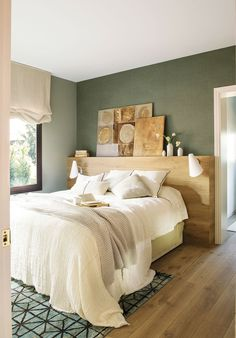 Master bedroom – green stone neatural walls with vinyl paper over a headwall bedrooms Green Apartment Master Bedroom, Small Master Bedroom, Master Bedroom Design, Home Decor Bedroom, Bedroom Designs, Bedroom Ideas, Big Bedrooms, Bedroom Green, Green Bedrooms