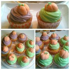 I made #Halloween #cupcakes with cinnamon, raisins and walnuts and vanilla cream cheese #frosting and #fondant / sugar paste #pumpkins that I also made myself!! #yummy #yumminess #HappyHalloween :) #boo