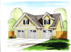 Detached three-car garage loft plan offers 3 overhead doors, a ceiling on the first floor, 1000 square feet of parking and roof pitch; 3 Car Garage Plans, Garage Plans With Loft, Garage Loft, Loft Plan, Basement House Plans, Garage Ideas, Garage Doors, Garage Design, Exterior Design