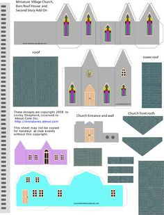 Printable Miniature N Scale Village Church and Bungalows: Simple Printable Pieces That Assemble to Make Many Building Styles