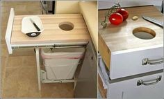 Kitchen drawer Cutting board above trash can