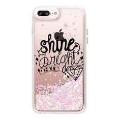 SHINE BRIGHT LIKE DIAMOND (BLACK TEXT) GLITTER - iPhone 7 Plus Case... ($45) ❤ liked on Polyvore featuring accessories, tech accessories, iphone case, glitter iphone case, iphone cases, diamond iphone case, apple iphone case and clear iphone case