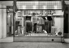 "New York, 1921. ""Victor record display, New York Band Instrument Co. window."""