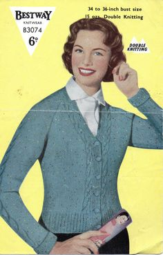 VINTAGE 1940's Bestway Ladies Raglan Cardigan by Hobohooks on Etsy, £1.20