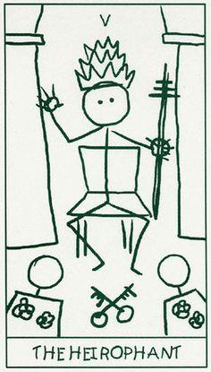Stick Figure Tarot by Lar deSouza (1999) Tarot monocromático y minimalista basado en el tarot de Waite-Smith