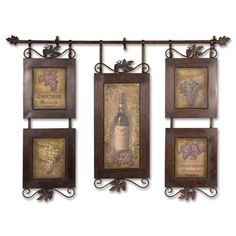 Vintage Wine Uttermost Hanging Wine Wall Art - In a kitchen or dining space, the leaf ornamentation and fresh-tone images of this iron Hanging Wine Wall Art from Uttermost can bring to your space a distinct touch of both edgy modern and warm rustic style. Wine Wall Decor, Wine Wall Art, Wine Art, Wall Art Decor, Wall Decorations, Tuscan Wall Decor, Kitchen Decorations, Wall Collage, Framed Wall Art