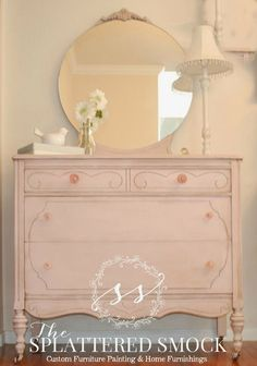 """SOLD: Pink Dresser, Shabby Chic, Hand Painted with Annie Sloan's """"Antoinette"""" Chalk Paint by TheSplatteredSmock on Etsy https://www.etsy.com/listing/191362473/sold-pink-dresser-shabby-chic-hand"""