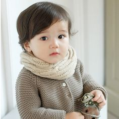 Baby knitting wool twist of the original single boys and girls scarf plain solid color scarves Korea sets new g13