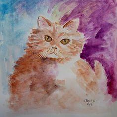 (2) Meooong, nama lengkapku Manis, tapi panggil aja aku Anis. Makanku banyak, supaya cepet gede #art #painting #watercolor #cat #manis #beautiful #cute #kucing #yellow Cat Art, Cat Lovers, Watercolor Cat, Cute, Painting, Beautiful, Instagram, Yellow, Kawaii