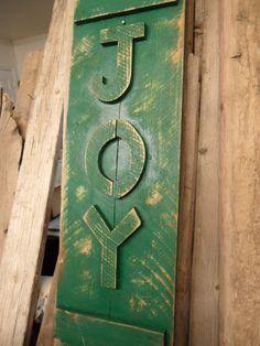 Primitive Joy sign, barnwood Joy sign, window shutter, antique window, Christmas sign, primitive Christmas. $49.99, via Etsy.