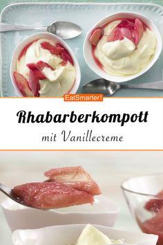 Rhabarberkompott Seasonal dessert: Rhubarb compote – with vanilla cream and cinnamon – smarter – Calories: 180 kcal – Time: 25 min. Rhubarb Compote, Vanilla Cream, Cake Recipes, Cinnamon, Food And Drink, Low Carb, Menu, Sweets, Snacks
