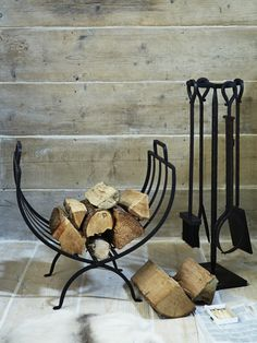 Wrought Iron Log Holder - Fireside - Decorative Home - Indoor Living Firewood Holder, Firewood Storage, Fireplace Accessories, Home Decor Accessories, Indoor Log Holder, Wrought Iron Decor, Wood Rack, Iron Work, Elegant Homes