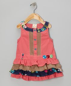 Take a look at this Pink Ruffle Button Dress - Infant, Toddler & Girls on zulily today!