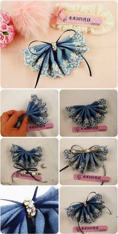 Denim Lace Flower Head Pin or Brooch. You can't always find embroidered denim but you could add lace to the edge to achieve a similar look. A good use for an odd earring too.A denim lace flower headpin is really nice and when you decide to make one y Diy Hair Bows, Diy Bow, Diy Ribbon, Ribbon Crafts, Ribbon Bows, Ribbons, Fabric Crafts, Denim And Lace, Lace Flowers