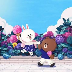 BROWN PIC is where you can find all the character GIFs, pics and free wallpapers of LINE friends. Come and meet Brown, Cony, Choco, Sally and other friends! Line Friends, Friends In Love, Line Cony, Cony Brown, Chibi Cat, Cute Love Pictures, Cute Couple Cartoon, Bunny And Bear, Lines Wallpaper