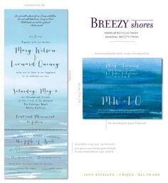 Watercolor Beach Wedding Invitations Breezy shores