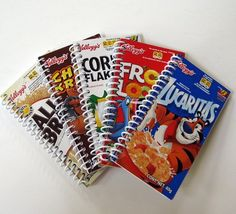Cereal box notebooks we could make these for them to sell at the notebooks made from recycled cereal boxes does anybody else think its hilarious that the top notebook is in spanish ccuart
