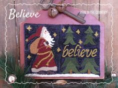 Believe Punch Needle Pattern by PrimInTheCountry on Etsy