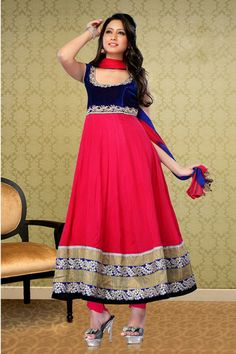 Pink and Blue Faux Georgette #Anarkali #Suits with Embroidered, Patch Work and Lace Work - Rs.4,799.  #zohraa
