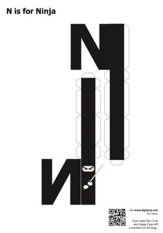 Blog_Paper_Toy_papercraft_Alphabet_N_Ninja_template_preview