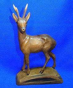 Vintage German Handicraft Wood Carved Deer Figurine / Figure #^
