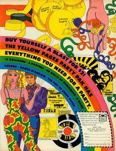 Art psychédélique - Yellow-Pages 1969, Année 70: Mouvement psychadélique= nouvelle phase du DG: expressivité, mouvement marginaux, rapport au drogue