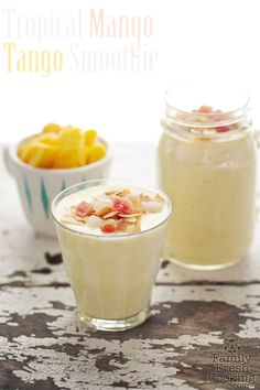 Tropical Mango Tango Smoothie by familyfreshcooking #Smoothie #Mango #Banana #Coconut