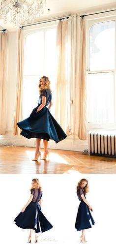 sheer-top navy dress // katie ermilio fall11