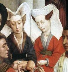 CUERNOS: Tocado con una estructura de alambre, como los cuernos de una vaca sobre los cuales se cosia el velo. Apareció hacia 1410.