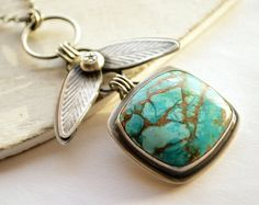 Rustic Oxidized Silver and Turquoise Necklace in a by EONDesign