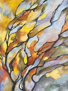 Original Paintings, Original Art, Yellow Tree, Tree Artwork, Fine Art Gallery, Anastasia, Landscape, Studio, Abstract