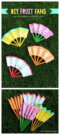 diy summer fruit fans folding a girl and a glue gun, fun for kids, kids … - Crafts for Kids Summer Crafts For Kids, Fun Crafts For Kids, Cute Crafts, Craft Stick Crafts, Crafts To Do, Diy For Kids, Summer Kids, Diys For Summer, Crafts Toddlers