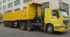 Tri axle heavy duty 80 ton end dump trailer, HYVA hydraulic cylinder. China trailer manufacturer & supplier.