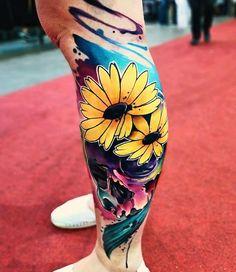 Watercolor tattoo for men done by tattoo artist Vinni Mattos Sun Tattoos, Dope Tattoos, Unique Tattoos, Beautiful Tattoos, Body Art Tattoos, Tattoos For Guys, Tattoos For Women, Girly Sleeve Tattoo, Sleeve Tattoos