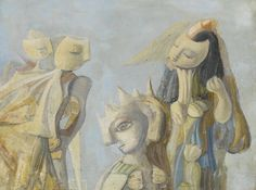 """Suzanne van Damme 1901 - 1986 LE MASQUE DU REFUS Signed S. Van Damme (lower right); signed again S. Van Damme, titled """"Le Masque du Refus"""" and dated twice 1952 (on the reverse) Oil on canvas 19 3/4 by 26 3/8 in. 50.2 by 67 cm Painted in 1952."""