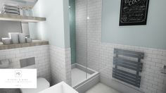 Herringbone feature tile wall and subway tile bathroom design by MiD Interior Design And Graphic Design, Feature Tiles, Bathroom Tile Designs, 3d Rendering, Subway Tile, Wall Tiles, Herringbone, Room Tiles, Subway Tiles