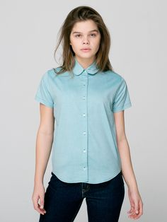 American Apparel - Pinpoint Oxford Round Collar Short Sleeve Button-Up