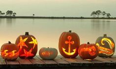 Nautical carved pumpkins for a fall beachy or tropical wedding..