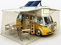 The VW bus is an icon of the 1960s, but this update retains its classic look while bringing it into the 21st century with a bio-diesel engine, GPS and solar power. The roof pops up and two awnings emerge from the sides. It's got a fridge and freezer, a home entertainment center, and a kitchenette built right into one of the doors.
