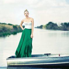 Maxi-Tellerrock grüne Seide