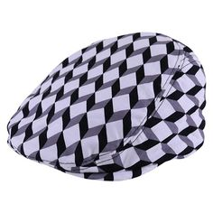 Junior Baby Hatter Cube Print Baby Flat Cap ($50) ❤ liked on Polyvore featuring men's fashion, men's accessories and men's hats